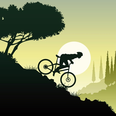 mountain holidays: mditerranean scene with man riding a mountain bike