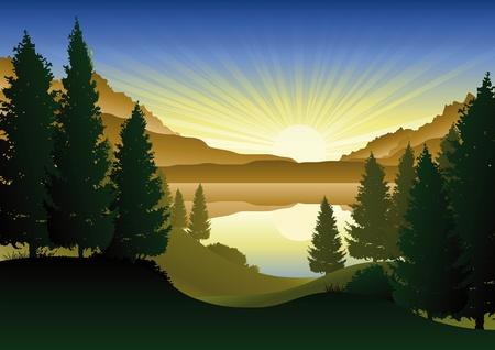 beaux paysages: Un beau lac dans les montagnes Illustration