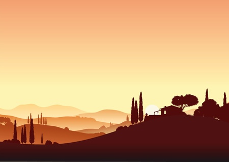 Sunset in Tuscany Stock Vector - 9638764