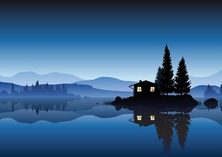 호수의 섬 일러스트