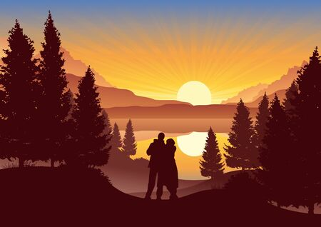 Romantic sunset with couple in the mountains Vector