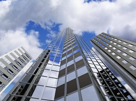 超高層ビル、雲に触れる