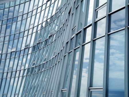 blue facades sky: modern glass and aluminum facade