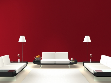 modern lounge with red wall