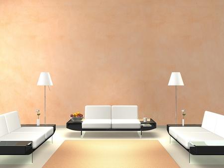 サーモン色の壁とモダンなラウンジ