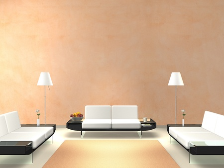 modern lounge with salmon-colored wall