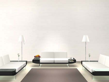 modern lounge with white wall photo