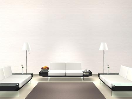 salotto moderno con muro bianco