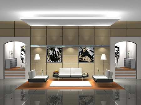 Lobby with sofas rendering Stock Photo