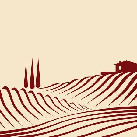 農業景観  イラスト・ベクター素材