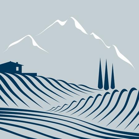 zypresse: Felder und Berge