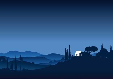 Moonnight in Tuscany Stock Vector - 10823453