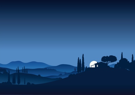 agriculture landscape: Moonnight in Tuscany Illustration