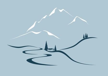 en mont�e: route serpentine dans les montagnes Illustration