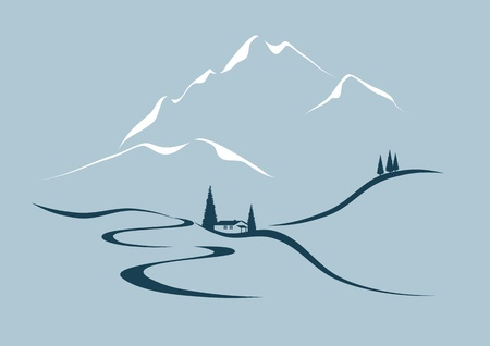 serpentine road in the mountains Vector