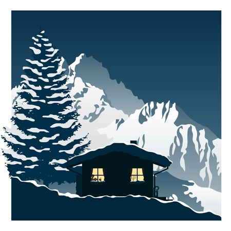 cozy ski cottage in the snowy mountains Stock Vector - 11307816