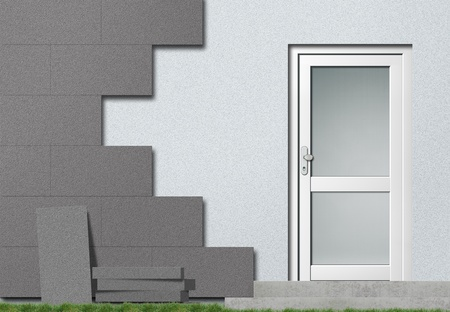 polystyrene: Grey facade insulation Stock Photo