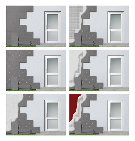 warm house: facade insulation step by step Stock Photo