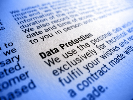 personal data privacy issues: data protection small print Stock Photo
