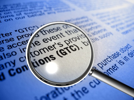 GTC General Terms and Conditions in focus Reklamní fotografie