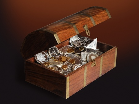 chest with silver and gold photo