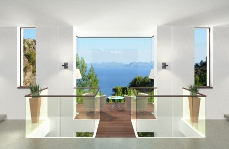 hillsides: Modern Interior with Glass Cube