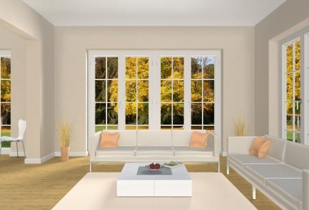 가을의 공원으로 볼 수있는 3 차원 거실