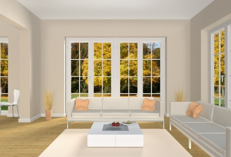 3d living room with a view into a park in fall