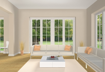 Living room rendering Stock Photo