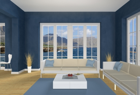 skirting: 3d living room with a view to the sea