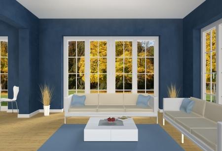 Blue Living room and autumn park Banque d'images