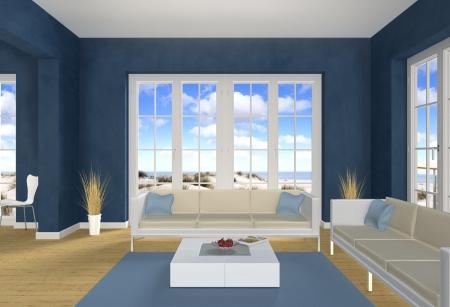 sala recepcyjna: Niebieski pokój dzienny i plaża Zdjęcie Seryjne