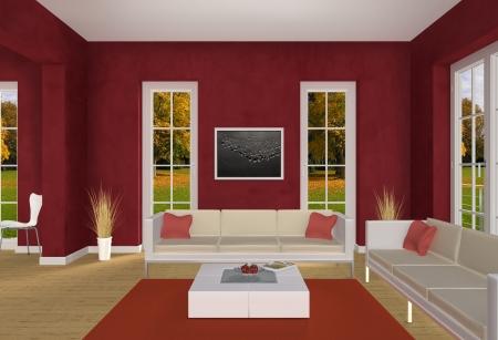 designers interior: soggiorno rosso e parco in autunno Archivio Fotografico