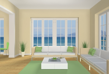 pastell colored seaside living room Stock Photo - 14042958