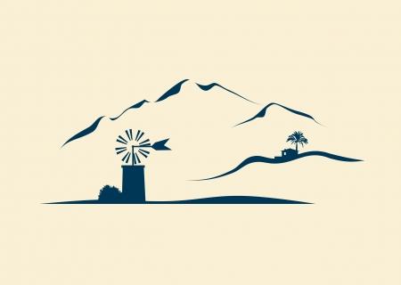 idealized: stylized landscape of Majorca Illustration