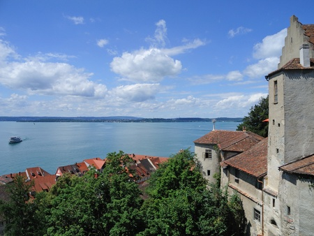 middle ages boat: view to the Lake Constance in Meersburg, Germany