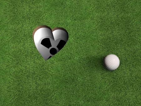 ball like: a golf hole shaped like a heart; metaphorical image for all golf enthusiasts Stock Photo