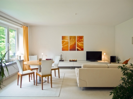 living room window: contemporary living room interior Stock Photo