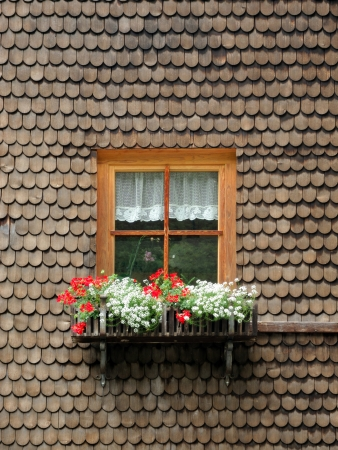 ancient wooden window with flowers surrounded by timber shingles Standard-Bild