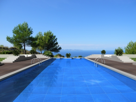 3d swimming pool: fictitious swimming pool with fantastic view to the sea Stock Photo