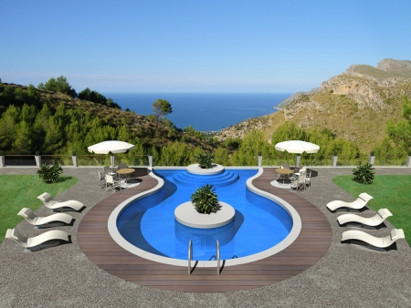 3d swimming pool: fictitious terrace with swimming pool and beautiful view to the sea