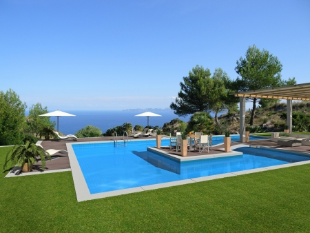 fictitious swimming pool with an islet in the middle and a beautiful view to the sea - rendering photo