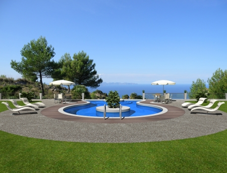 fictitious swimming pool in 3d