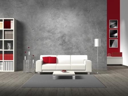Moderní fiktivní obývací pokoj s bílou pohovkou a kopírovat prostor pro vaše vlastní image  fotografie na betonovou zeď za pohovkou; fotografie v pozadí je pořízena mě - žádná práva innfringed photo