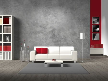 interior design living room: modern fictitious living room with white sofa and copy space for your own imagephotos on the concrete wall behind the sofa; the photos in the background are taken by me - no rights are innfringed