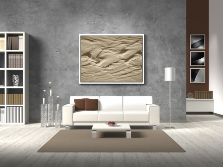 modern fictitious living room with white sofa and copy space for your own image/photos on the concrete wall behind the sofa; the photos in the background are taken by me - no rights are innfringed Reklamní fotografie - 15470707