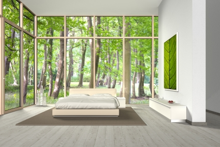 FICTITIOUS bedroom created by me with 3d software - the photos in the background and the frame are my own