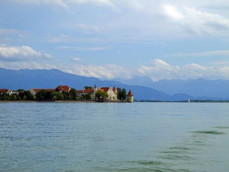 beautiful view to the island of Lindau at the lake constane photo