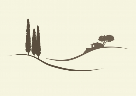 cypress trees and a finca in the typical tuscanian landscape Illustration
