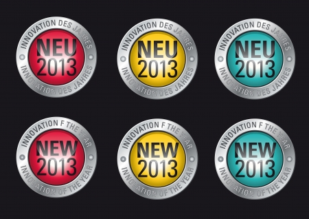 Advertisement Button promoting the Innovation of the year 2013 Stock Vector - 16434609